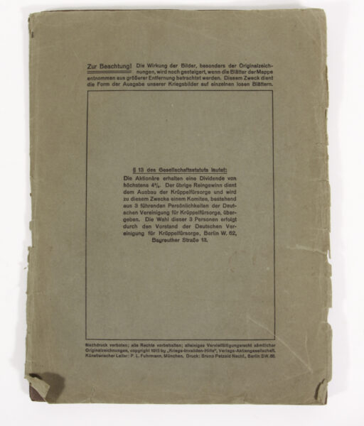 Loose-leaf collection of the German Cripple Welfare Service 1915
